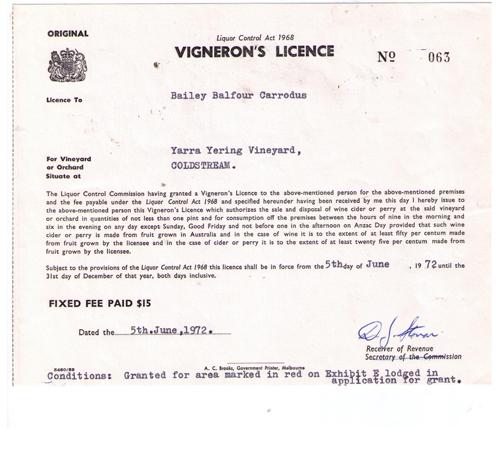 yarra yering vineyard licence